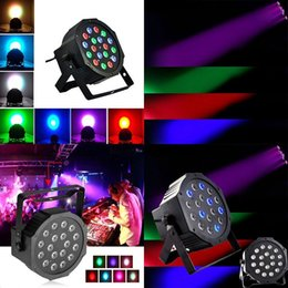 Wholesale Auto Running Lights - 18LEDs RGB Flat Par Light 7 Channels Stage Effect Light DMX 512  Sound Activated Master Slave  Auto Run  for Disco Bar DJ Club
