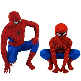 Wholesale Kids Spiderman Spandex - q0228 Classic Spider-Man Kids Adult Superhero Lycra Spiderman Hero Zentai Halloween Cosplay Costume Spandex Full Bodysuit for men boys