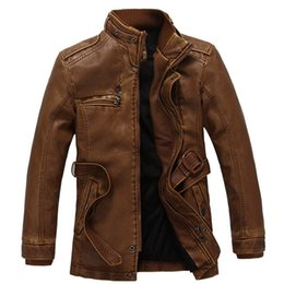 Wholesale Wool Coat Leather Belt - Wholesale- 2016 Mens Leather jackets and coats Thick Warm Pilot Leather Jacket Wool Liner Leather Suede Slim Fit Jacket with Belt