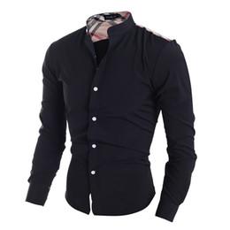 venda por atacado roupas americanas frete grátis Desconto Atacado-xadrez clássico patchwork design dos homens camisas casuais estilo americano moda meninos slim fit roupas de manga completa navio livre