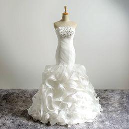 Wholesale Bridal Dresses Handwork - Real Mermaid Wedding Dresses 2017 Strapless Handwork Flower Beads Wedding Dress Bridal Gowns Organza Pleats Lace Up Bridal Dresses