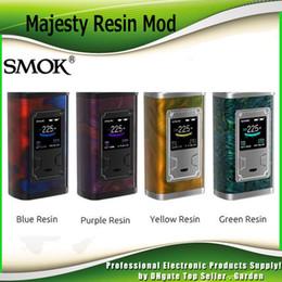Wholesale E Cigarettes Led - Original SMOK Majesty 225W TC Box Mod Resin Edition Changeable LED Color E Cigarette Vape Ecig Mods 100% Authentic