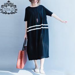 Wholesale Large Size Night Dresses - Wholesale- Women Dress Cotton Plus Size Striped T-Shirt Summer Style Fashion Casual Loose Female Tops Black Long Tshirt Dresses Large Size