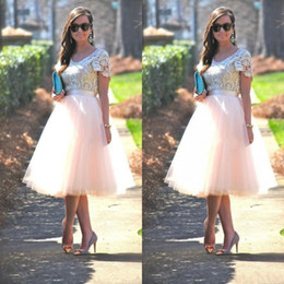 Wholesale Tea Length Skirt Top - Cheap Prom Party Dresses with Short Sleeves Lace Top Blush Tutu Skirts Tea Length 2017 Formal Evening Gowns Bridesmaid Dresses