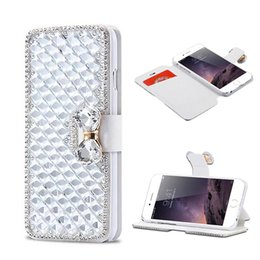 Wholesale Diamond Flip Cases - Luxury Rhinestone PU Leather Diamond Wallet Case Credit Card Holders Flip Cover For iphone X 8 7 6 6S Plus Samsung Note 8 case OPP BAG