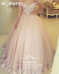 Wholesale Tulle Skirt Quinceanera Dresses - Blush Pink Off Shoulder Ball Gown Prom Dresses 2017 Vintage Lace Puffy Tulle Skirt Plus Size African Arabic Sweet 16 Formal Quinceanera Gown