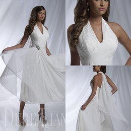 Wholesale Short White Ruched Graduation Dresses - White Prom Dresses Halter Tea Length Party Dress Chiffon Evening Dress A Line Graduation Party Gowns Ruched Pleats Short Beach Bridal Gowns