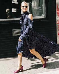 Wholesale Designer Style Long Sleeve Dresses - Street Style Dresses 2017 High Quality Luxury Brand Maxi Dress For Women Designer Brand Dot Long Luxury Street Style Dresses