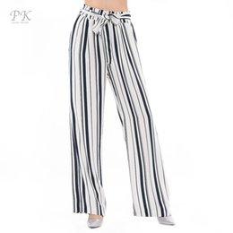 Wholesale Legging Pant Navy Women - PK Wide Leg Pants High Waist Pants Women Summer 2017 Navy Stripe Women Leggings Pantacourt Femme Women Pants Bottom Trousers