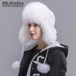 Wholesale White Russian Fox Hat - Ms.MinShu Silver Fox Fur Hat with Sheepskin leather Outer shell Russian Fur Hat Unisex Winter Earflap Natural Fox Fur Cap