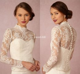 Wholesale High Neck Lace Wedding Jackets - White Iovry 2017 High Neck Bridal Wraps Long Sleeve Vintage Wedding Lace Applique Jackets Cheap Bridal Jacket Bolero Jacket Plus Size