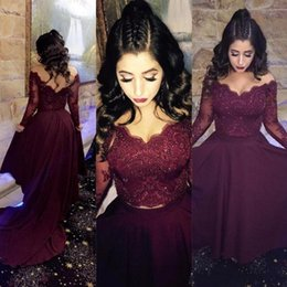 Wholesale Long Abendkleider - 2017 Burgundy Two Piece Prom Dresses Long Sleeve with Lace Appliques Sequins Long Evening Gowns Prom Dresses Abendkleider