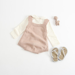 Wholesale Sweater Romper - Baby rompers baby Boys Girls suspender Cardigan sweaters Bunny printed Romper Toddler kids sleeveless jumpsuits Autumn kids clothes G0486