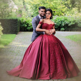 Wholesale Engagement Dresses Custom Made - 2018 Burgundy Red Ball Gown Evening Dresses Sweetheart Off Shoulder Satin Plus Size Prom Dresses Engagement Gowns Quinceanera Dresses