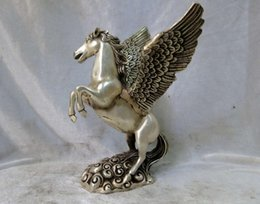Wholesale Silver Horse Statue - Silver sculpture China carved Feng Shui beautiful Pegasus fly horse Statue