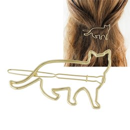 Wholesale Metal Hair Clips For Girls - Fashion Metal Cat Shape Hair Clips Barrettes for Girls