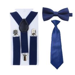 Wholesale Bowtie Suspenders - Wholesale- Children Kids Boys Girls Navy Blue Suspenders Y-Back Braces Adjustable Necktie Bowtie Ties Set Party 1-8 Years HHtr0007a10