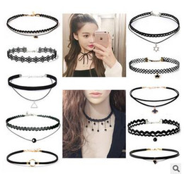 Wholesale Multi Tattoo - 46 Styles ! Multi-Layer Tattoo Choker Necklace Charm Long Tassel Adjustable Pendants Necklaces for Women Black Lace Chokers collar Jewelry