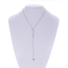 stick necklaces Promo Codes - Wholesale Silver Tone Long Pendant Crystal Dot Lariat Choker Necklace With Bar Stick Collar necklace For Women Jewelry