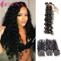 Wholesale Malaysian Wavy Virgin Hair 4pcs - 4PCS Lot Malaysian Water Wave With Closure Unprocessed 3 Bundles Malaysian Virgin Hair Wet And Wavy Human Hair With Closure 7A
