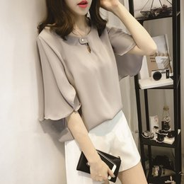 Wholesale Chiffon Korean Women Fashion - 2017 Spring New Korean Fashion Loose Sweet Crew Neck Lotus Leaf Sleeve Chiffon Blouse 100% chiffon three colors