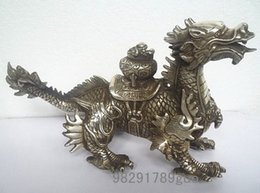 Wholesale Collectibles Antiques - Collectibles Huge Tibetan Silver luck Dragon Statue