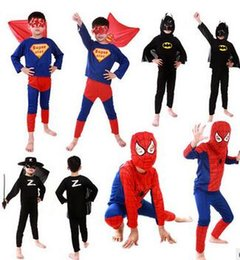 Wholesale Baby Spiderman Costumes - 2017 New Spiderman Superman Batman Zorro Halloween Costume Suits Kits Kids BABY long sleeve superhero costume cosplay set S M L