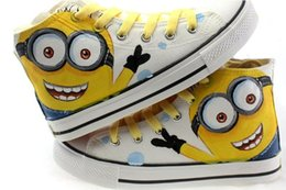 Wholesale Hand Painted Canvas Shoes Boys - fashion Style Children Canvas Shoes Hand Painted Boys Girls Canvas Sport Shoes Despicable Me Minions Casual Kid Sneakers