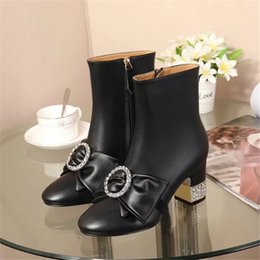 Wholesale Bowknot Rhinestone - New 2017 Women Genuine leather Ankle Boots Luxury Brand Fashion Martin Shoes Rhinestone Bowknot Short Boost Ladies Autumn Fashion Boots A09
