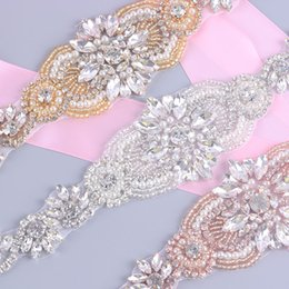 Wholesale Sew Rhinestones Patches - Clear Rhinestone Pearl for Wedding Dresses Belt by Sewing Iron Embroidery Patches Appliques Rose Gold,Silver Bridal Sashes L45