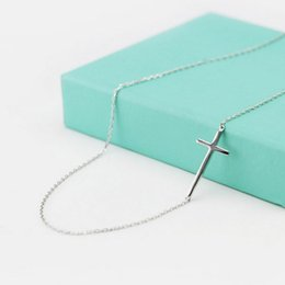 Wholesale 925 Sterling Silver Necklace Cross - Wholesale-New Arrival 925 Sterling Silver Cross Necklaces Pendant Hot Sale Pure Silver Jewelry for Women Free Shipping