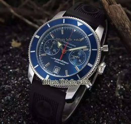 Wholesale Superocean Strap - High Quality Luxry Brand Superocean Heritage Chronograph 44 Black Dial A2337024 VK Quartz Mens Watch Rubber Strap Sport Gents New Watches