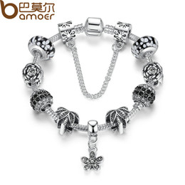 Wholesale Enamelled Flower Charms - Pandora Style 2017 Classical Retro Silver Color Black Bead Friendship Bracelets with Charms DIY Bracelet Accessories