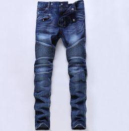 Wholesale Fit Cargo Pants - Blue Motorbike Jeans Men's Slim Biker Jeans Casual Plus Size Denim Cargo Pants Fashion Ripped Man Paris Straight Fit #003
