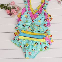 Wholesale Swimsuits For Baby Cartoons - kids swimwear girls two pieces child swimsuit with ruffled Cartoon for children bikini baby girl Cute little girls swim suits with bow 2T-4T