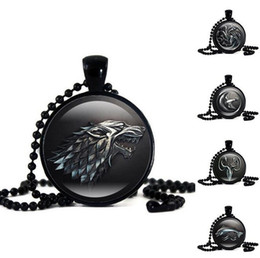 Wholesale Time Beads Charms - Hot sale Explosive Power of the game time gem necklace black bead chain wolf necklace WFN374 (with chain) mix order 20 pieces a lot