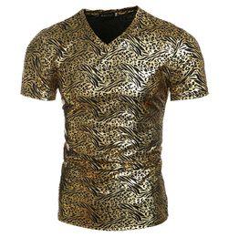 Wholesale Leopard Print Tshirts - New skinny tshirts youth tshirt mens Leopard Gold printing short Sleeve t shirt for men tshirts cotton clothing casual t shirts