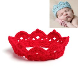 Wholesale Hand Crochet Baby - Multicolor Baby Girls hand-made crocheted Crown headband Baby solid cololr knitted hair band kids Photography props