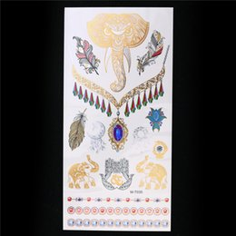 Wholesale-1 Sheet Metallic Gold Silver Tattoo Sticker Flash Waterproof Henna Decal Elephant Feather Women Jewelry Temporary GM-T035 Tattoo cheap waterproof sheet wholesale от Поставщики водонепроницаемый лист оптом
