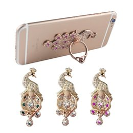 Wholesale Peacock Screen - Peacock open finger ring holder screen metal diamond multi functional lazy folding folding paste mobile phone ring holder wholesale