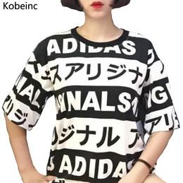 Wholesale Japanese Slimming Shirt - Wholesale- S-XL Loose Summer Women Tops Harajuku Style Japanese Letters Printing T Shirt 2016 New Fashion Short Sleeve Slim T-shirt