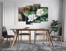 Wholesale water lily paint - 4pcs set Unframed Beautiful Water Lily Lotus Oil Painting Style Print On Canvas Wall Art Painting For Living Room Decor