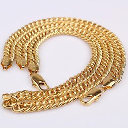 Wholesale Diamond Necklace Mens - 24K 24CT Real Yellow Solid GOLD GF Wide Curb LINK Chain Mens Womens NECKLACE 23.6inch 10mm jewel