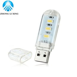 Argentina Venta al por mayor- 1pcs nuevo mini 3 LEDs 5730 SMD LED USB libro de la lámpara enciende el bulbo que acampa Nightlight para la computadora portátil de los ordenadores portátiles que lee la luz de la noche mini led book light promotion Suministro