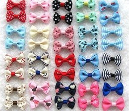 Wholesale Dog Grooming Hair Clip Bows - Handmade Accessories For Dogs Fashion and new Hair Bows Hair Clip Pet flower Cat grooming supplies Headdress IB392