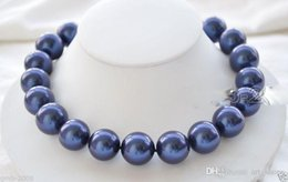 """Wholesale huge round pearls - Huge 14mm Blue South Sea Shell Pearl Round Gemstone Necklace 18""""AAA++ k62"""