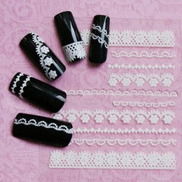 Wholesale Nail Sticker Black White - NEW 3D DIY strip lace flower Nail Polish Decoration Design White Lace Nail Sticker Nail art tools for women beauty 1 Sheet