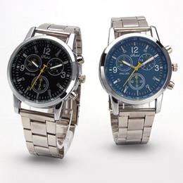 Wholesale Cheap Chronograph Watches Women - Geneva stainless steel belt cheap men ladies business watches simple round style black blue white women wristwatches