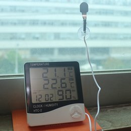 Wholesale Wholesale Indoor Outdoor Thermometer - Temperature Humidity Meter Thermometer Hygrometer Weather Station LCD Digital HTC-2 Clock Alarm Indoor Outdoor With Probe Time Display