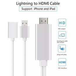 Wholesale Iphone Projector Wholesale - Lightning to HDMI HDTV 1080P Video AV Cable Adapter HD Display Cable Sync to TV Projector Monitor For iPad iPhone 7 8 Plus Samsung S8